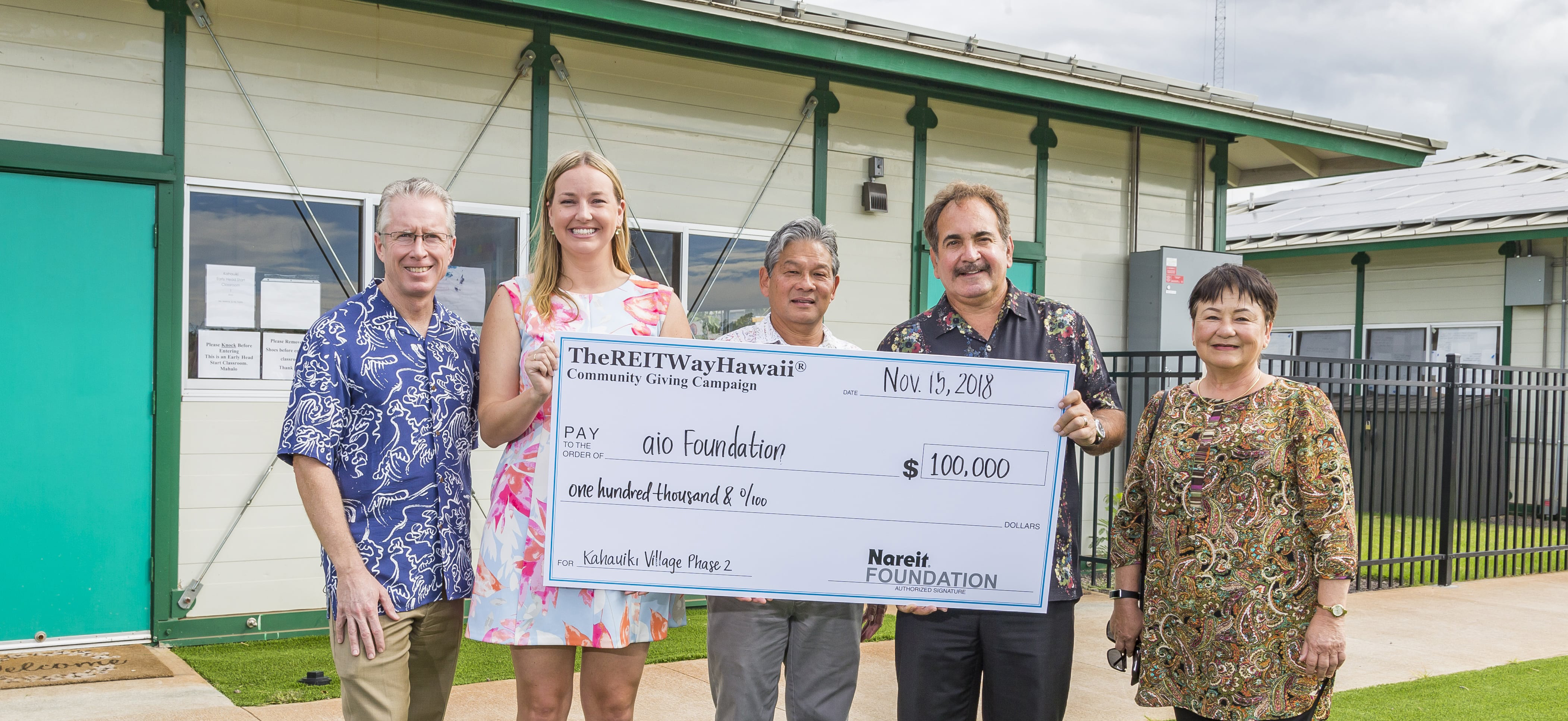The REIT Way Hawaii Community Giving Camapaign Check presentation